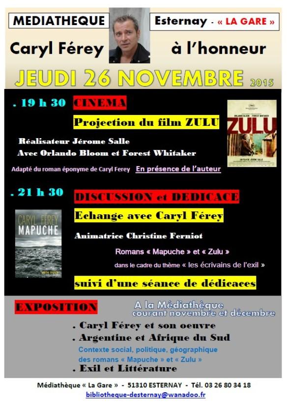 Projection Zulu, rencontre Caryl Férey, exposition Médiathèque page1